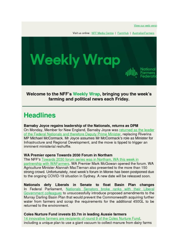 thumbnail of National Farmers Federation – Weekly Wrap – 28th June 2021