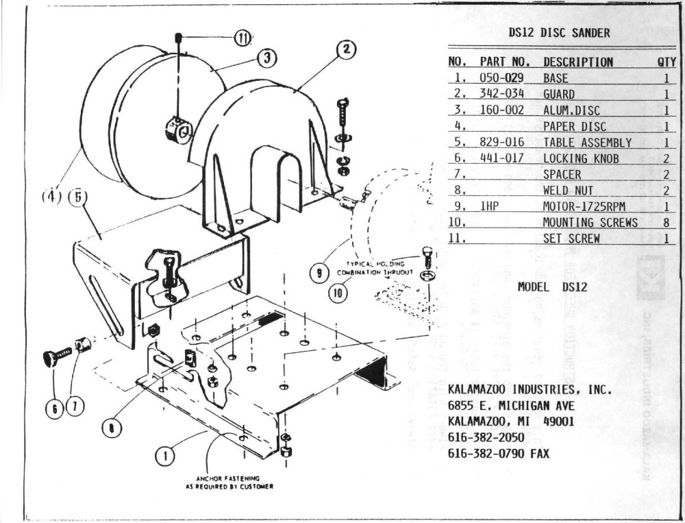 medium resolution of ds12 12 inch disc sander parts list kalamazoo industries
