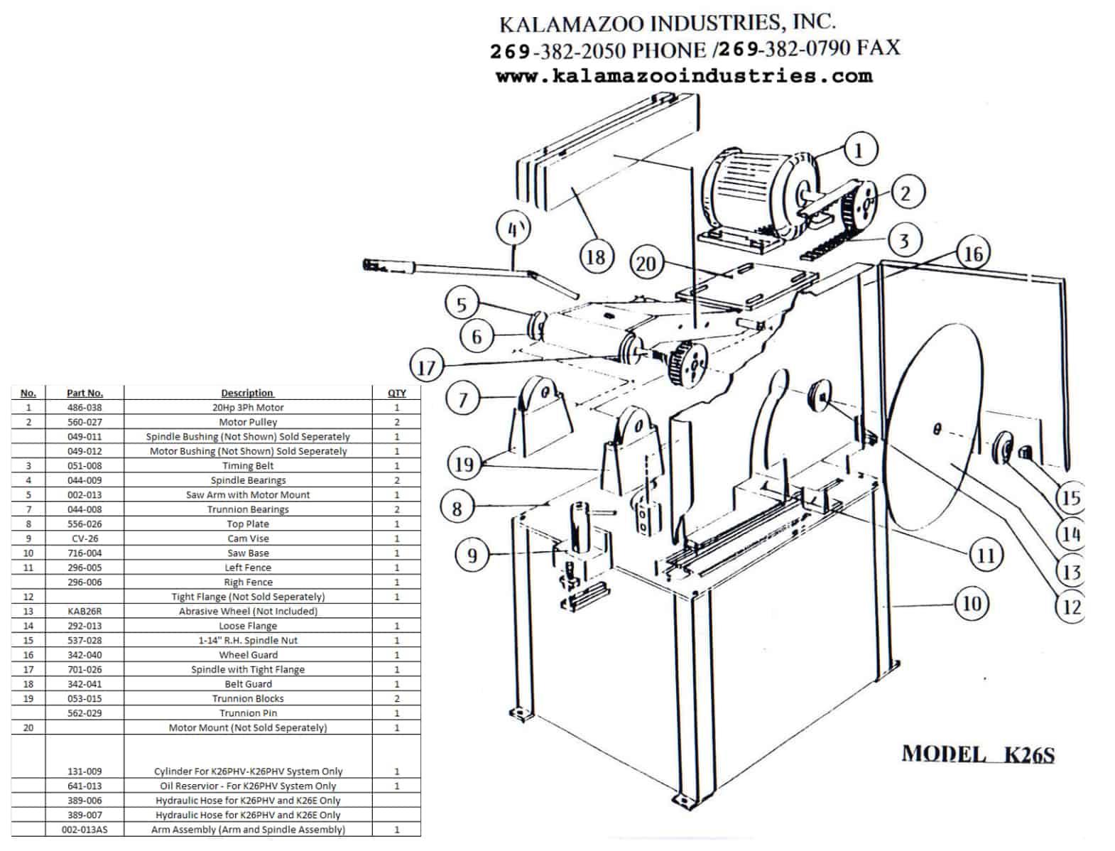 K26S 26 inch heavy duty abrasive chop saw