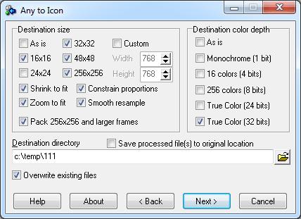 Програмата конвертира BMP, JPEG, GIF, PNG, PSD, WMF, WBMP, XPM,