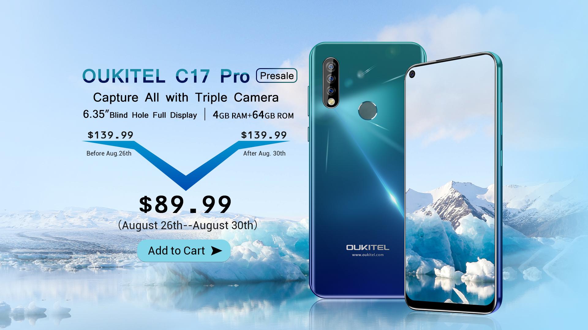 Продажбите на OUKITEL C17 Pro с тройна камера и голяма площ на дисплея стартират на 26 август при цена само $89,99