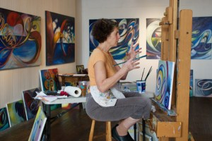Judy painting in Live Worms Gallery Oct 2015 by Patrick Glaize