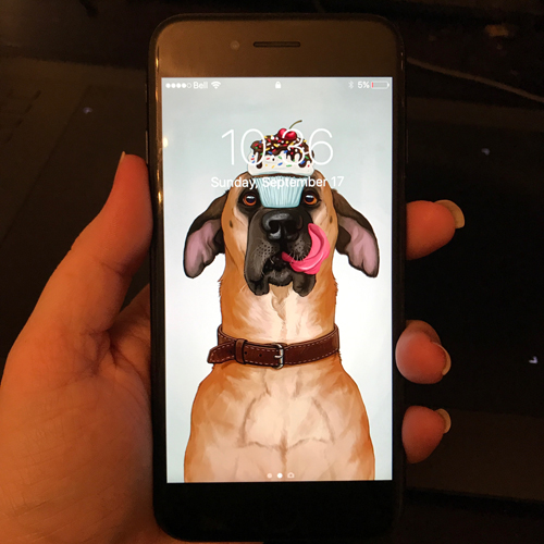 An illustration of a dog by Kaleigh Bulford being used as an iPhone background.