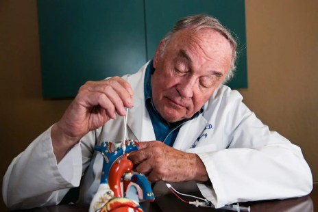 Inventor and medical pioneer Thomas Fogarty with balloon catheter