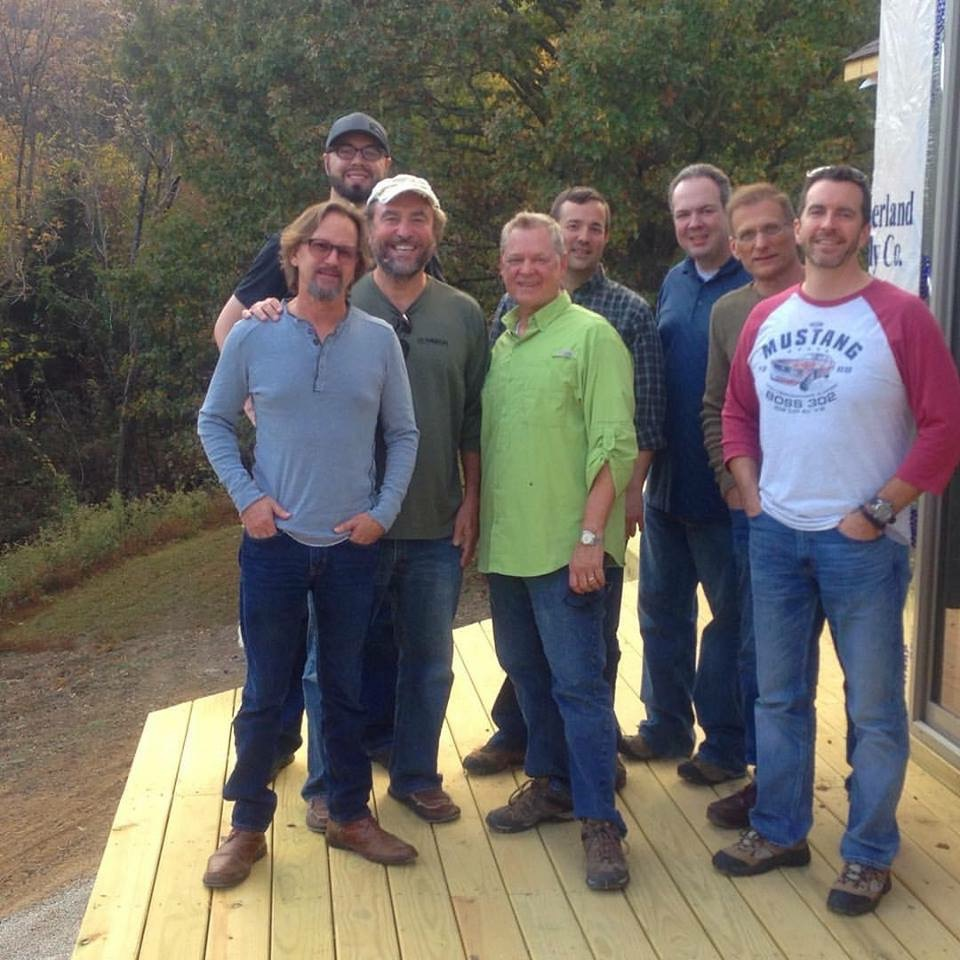 The men of re:Quest (A Rite of Passage for the Second Half of Life) on the front observation deck in construction (now completed) at Kalien in Autumn 2015