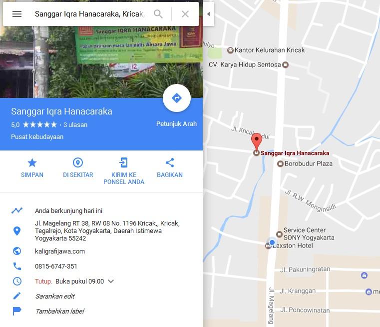 Lokasi Sanggar Iqra Hanacaraka