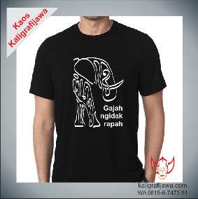 Kaos kaligrafi aksara jawa paribasan gajah ngidak rapah