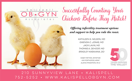 Kalispell Ob/Gyn offering infertility treatment - ad with baby chicks