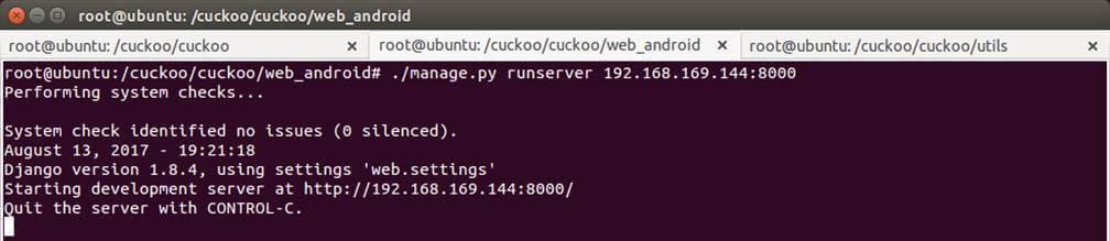 [Figure 6] Running CuckooDroid for malicious APK analysis