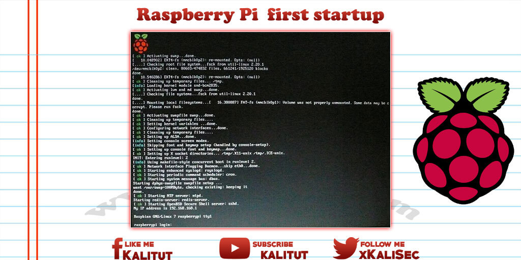 Raspberry Pi first boot