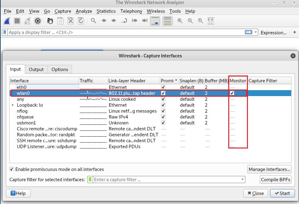 Capture wifi traffic with wireshark