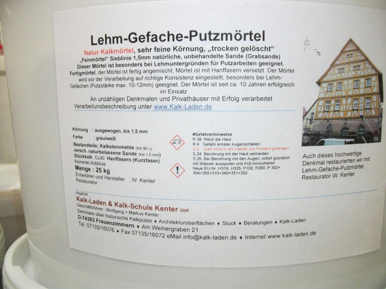 Lehm-Gefache-Putzmörtel, 25 Kg