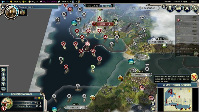 Civilization 5 Into the Renaissance England Deity Attack Almohads