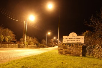 Longest Name Ever Llanfairpwllgwyngyll by night