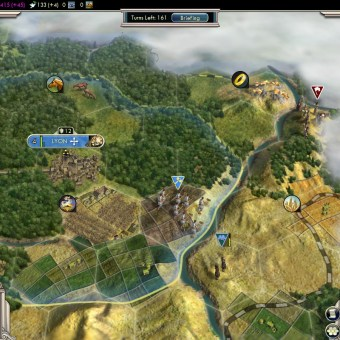 Civilization 5 Into the Renaissance France Deity Lyon blocking the East