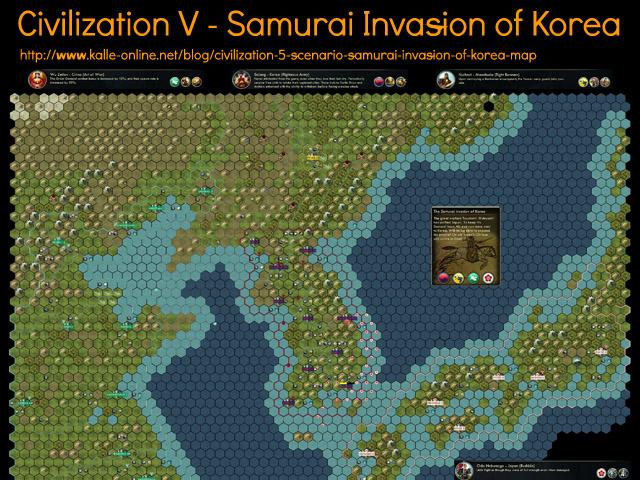Civilization 5 Samurai Invasion of Korea Map