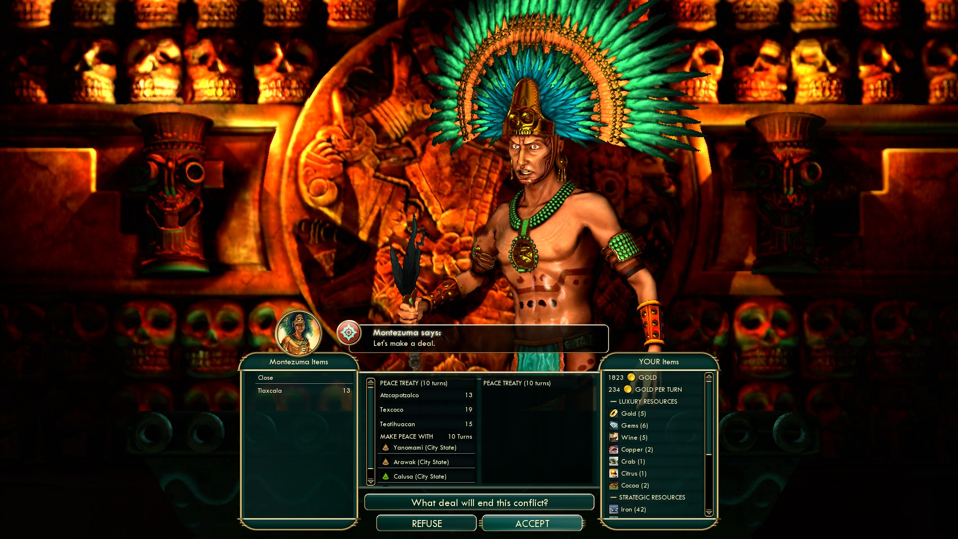 Civilization 5 Conquest of the New World Portugal Deity - Aztecs last cities