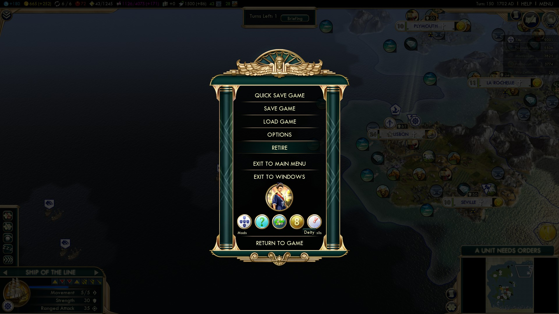 Civilization 5 Conquest of the New World Portugal Deity - Victory