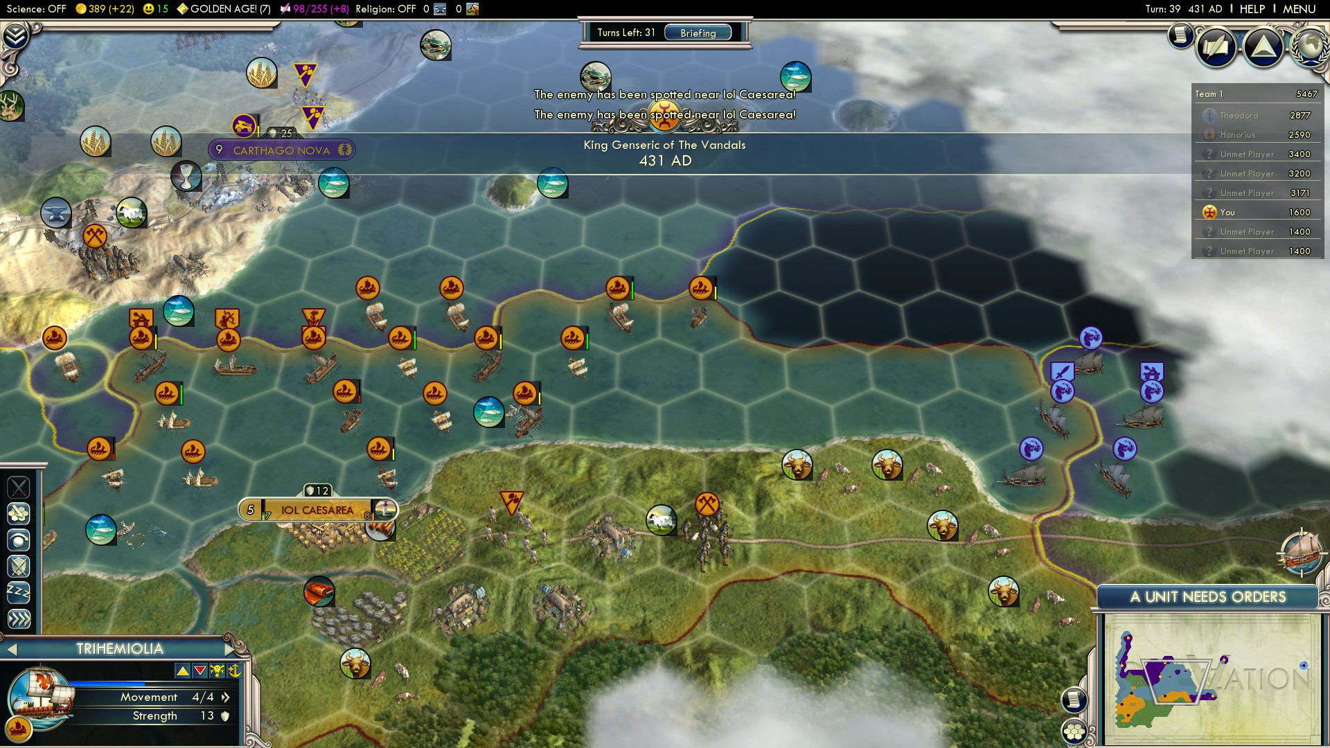 Civilization 5 Fall of Rome Vandals Deity - East Rome saving West Rome