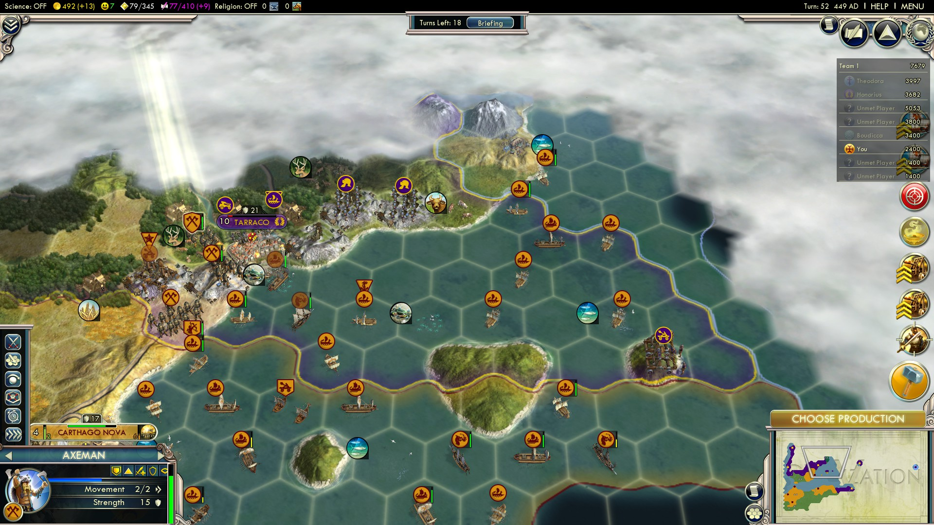 Civilization 5 Fall of Rome Vandals Deity - Tarraco starts the Conquest