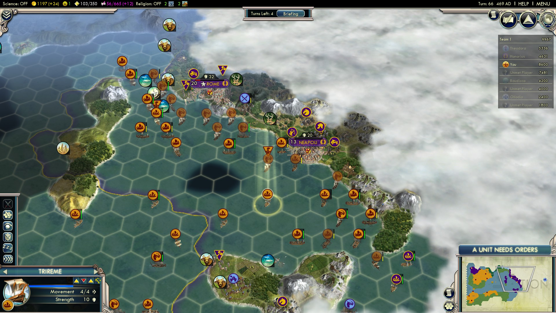 Civilization 5 Fall of Rome Vandals Deity - Italy Sacked