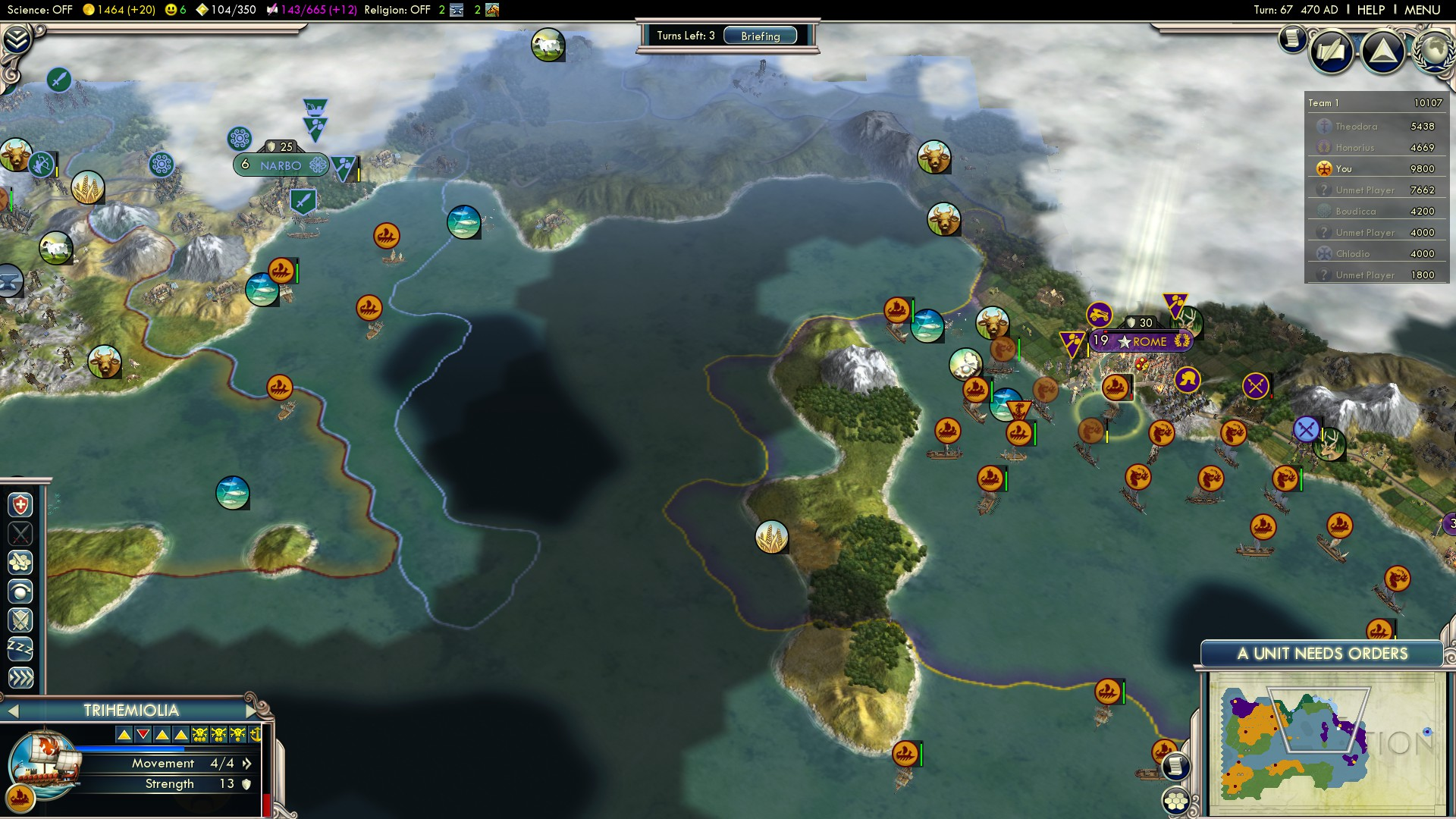 Civilization 5 Fall of Rome Vandals Deity - I Sunk Your Imperial Capital! Steam Achievement