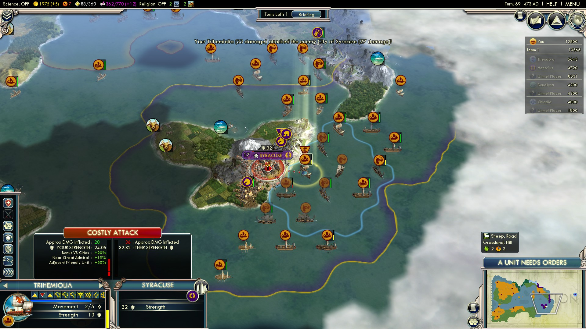 Civilization 5 Fall of Rome Vandals Deity - Syracuse turn 69
