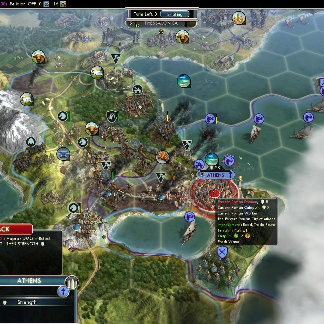 Civilization 5 Fall of Rome Goths Deity - Athens