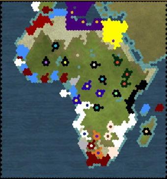Civilization 5 Scramble for Africa Ethiopia Deity - Map turn 11
