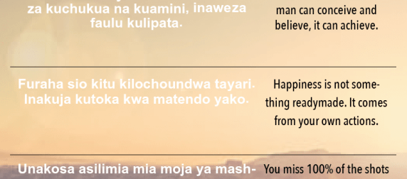 Incredible Inspirational Quotes in Swahili!