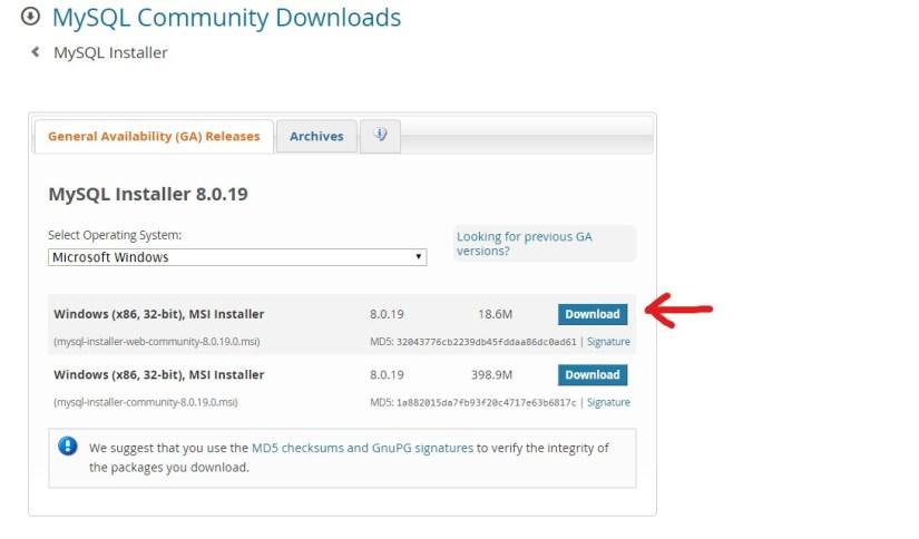 Mysql download