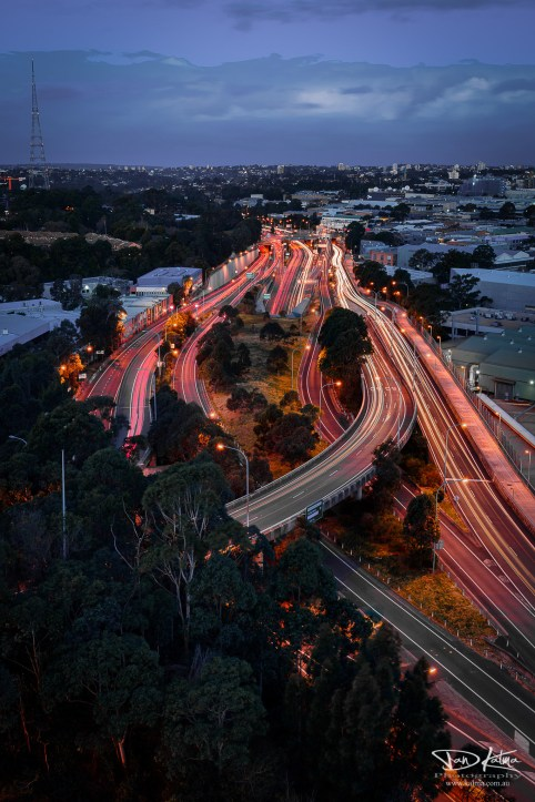 City lights Car trails north sydney highway new south wales australia dan kalma