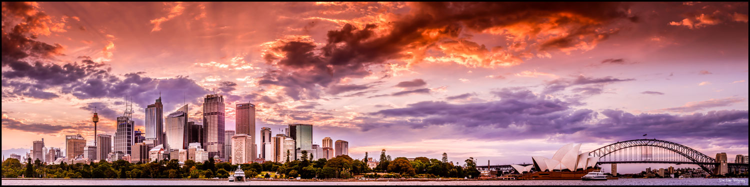Sydney Harbour Bridge City opera house panorama sunset cityscape new south wales australia dan kalma photography