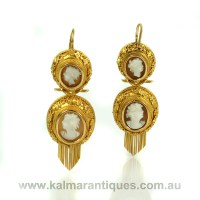 Antique cameo earrings from the 1860's.