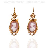 Antique sardonyx and enamel cameo earrings from the 1860's.