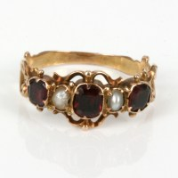 Buy 15ct rose gold antique garnet & pearl ring made. Sold