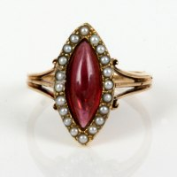 Buy Rose gold antique garnet and pearl ring. Sold Items