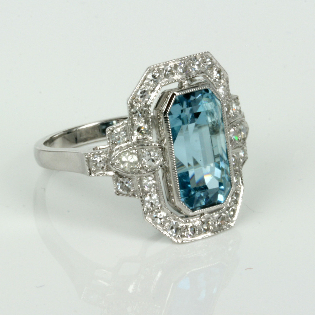 Buy Aquamarine and diamond ring in 18ct white gold Sold