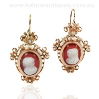Antique cameo and pearl earrings