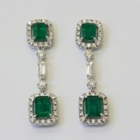 Buy Emerald and diamond drop earrings. Sold Items, Sold ...