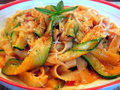 Tagliatelle With Zucchini, Tomato and Fresh Herbs