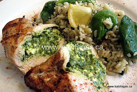 Grilled Chicken Stuffed With Ramps & Feta Pesto