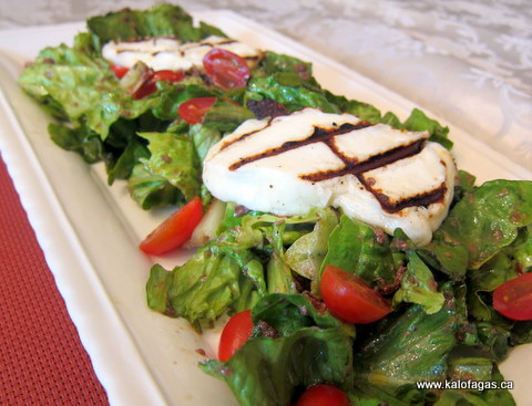 Grilled Halloumi Salad With a Kalamata Olive Vinaigrette