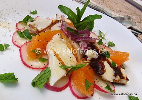 Grilled Halloumi and Orange Salad