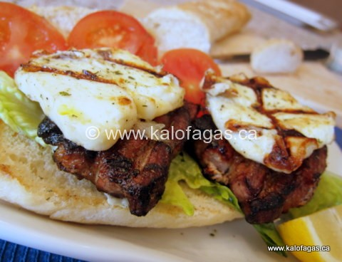 Grilled Pork Belly and Halloumi Sandwich