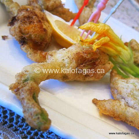 Fried Zucchini Blossoms in Ouzo Batter