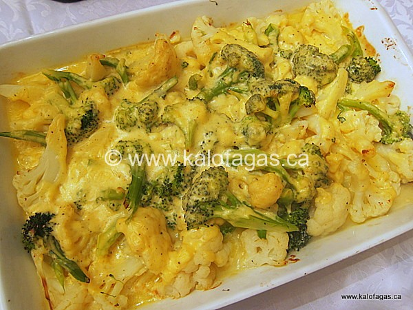 Baked Cauliflower & Broccoli With Cheddar