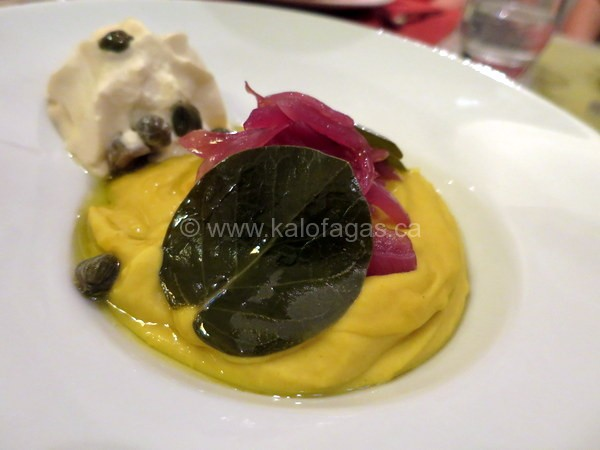 Santorini Fava puree, caper leaves