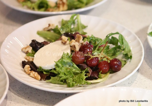 Pickled Grapes With Manouri Cheese and Salad Greens