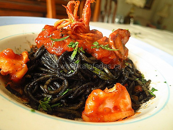Squid Ink Spaghetti With Zesty Calamari